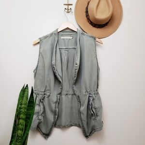 MAX Jeans army green drape vest